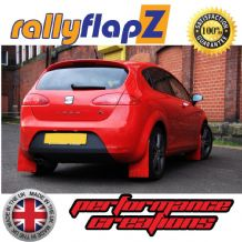 LEON MK2 2ND GEN TYPE 1P (2005-2011)  RED MUDFLAPS (Leon Logo Gold)